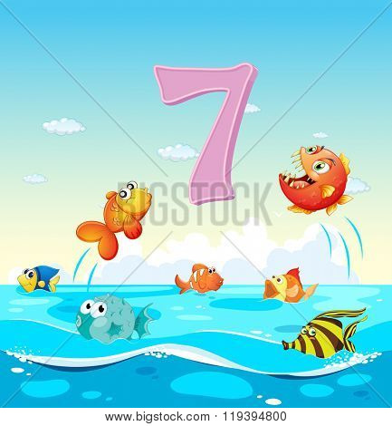Number seven with 7 fish in the ocean illustration