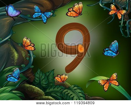 Number nine with 9 butterflies in the garden illustration