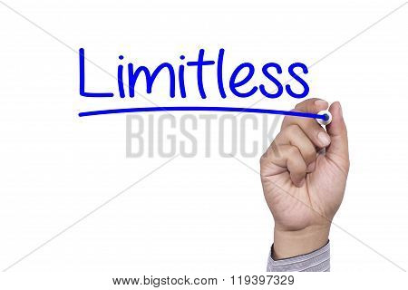Business Concept Handwriting Marker And Write Limitless Preparation Isolated On White Background