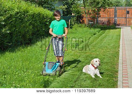 Boy Cutting Grass In The Summer Yard