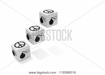 War or Peace: white dice on a white background
