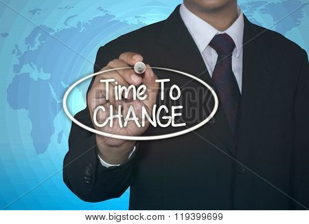 Time To Change businessman write concept
