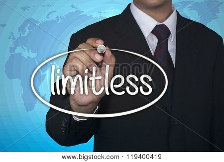 Business concept handwriting marker and write Limitless Preparation over light blue background with