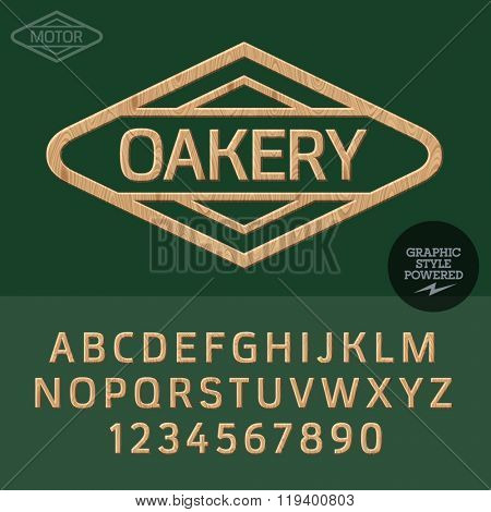 Wooden logo for for woodcutter business. Vector set of letters and  numbers