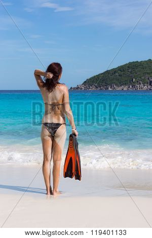 Young In Front Of Blue Sea