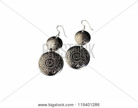 Earrings With Embossed On Metal Isolated On White