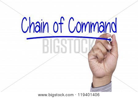 Business Concept Handwriting Marker And Write Chain Of Command Isolated On White Background