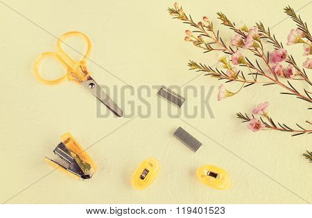 Craft Scissors Stapler Paperclip and Flower in sweet color