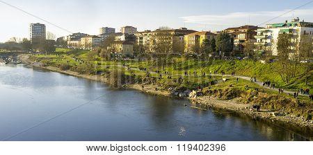 Pavia, the Ticino river shores. Color image