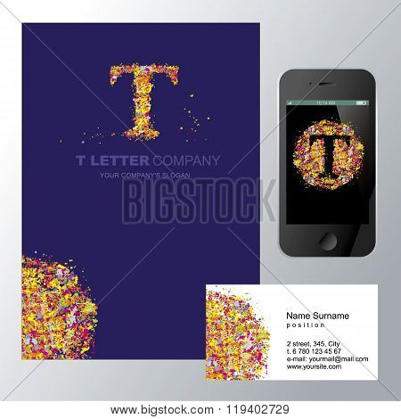 Template corporate company signs T-letter_logo_mozaic