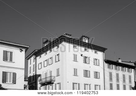 Pavia, old city view. Black and white photo