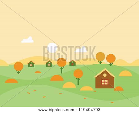 Seamless Cartoon Autumn Nature Landscape, Vector Illustration