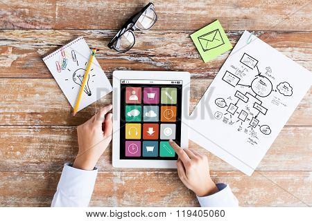 business, education, people and technology concept - close up of female hands pointing finger to menu icons on tablet pc computer screen, scheme and eyeglasses