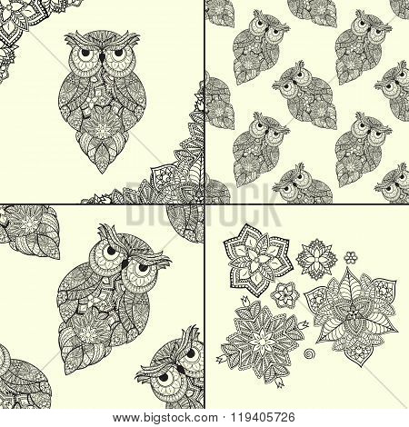 illustration of ornamental owl. Bird illustrated in tribal. Set of ornamental owls with flowers and