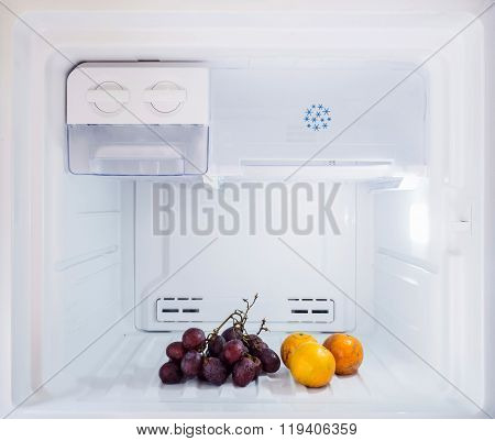 Diet Fruit, Some Orange And Grape Put In The Freezer Fridge