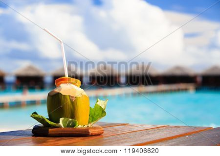 coconut drink on luxury tropical resort