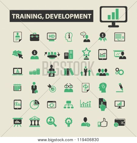 training, development icons, training, development logo, training, development vector, training, development flat illustration concept, training, development infographics