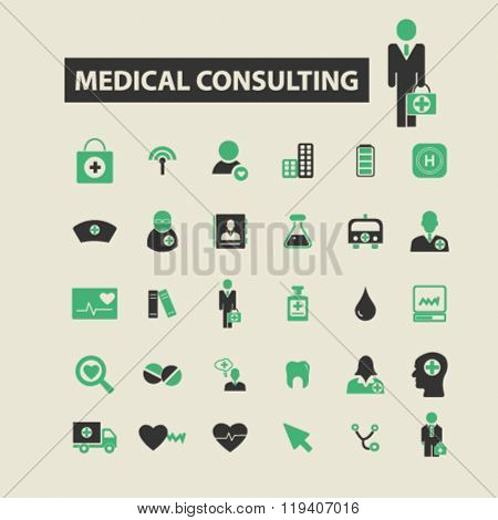 medical consulting icons, medical consulting logo, medical consulting vector, medical consulting flat illustration concept, medical consulting infographics, medical consulting symbols,