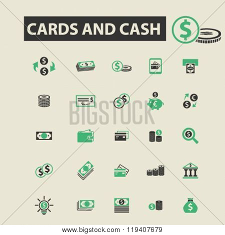 cards cash icons, cards cash logo, cards cash vector, cards cash flat illustration concept, cards cash infographics, cards cash symbols,