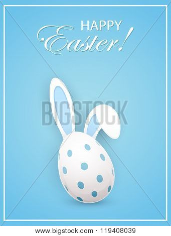 Rabbit Ears And Easter Egg On Blue Background