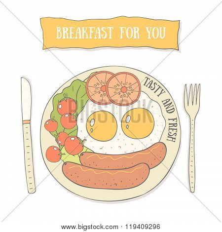 Breakfast for you postcard with eggs and sausges