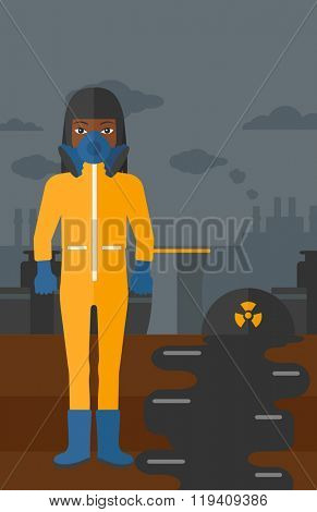 Woman in protective chemical suit.