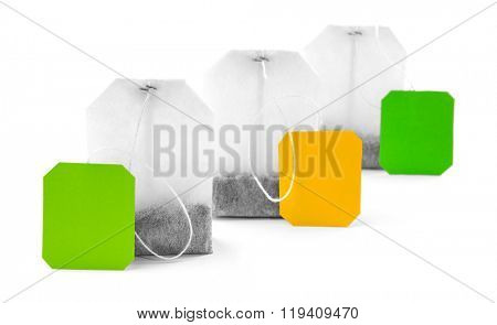 Unused teabags isolated on white background