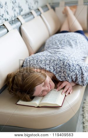 The Woman Fell Asleep While Reading  Book