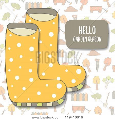 Hello garden season postcard