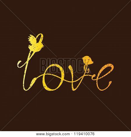 Vintage Golden Love Lettering With Birds