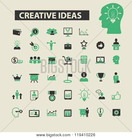 creative ideas icons, creative ideas logo, creative ideas vector, creative ideas flat illustration concept, creative ideas infographics, creative ideas symbols,