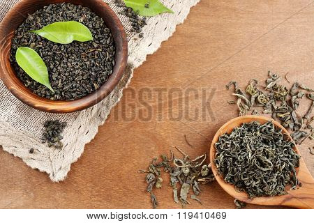 Dry tea with green leaves in wooden spoon and bowl on wooden table background