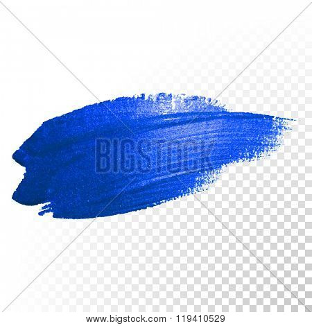 Vector blue watercolor brush stroke paint, smear stain. Abstract color oil gouache blue glittering textured art illustration.