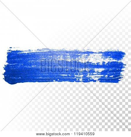Vector blue watercolor brush stroke smear paint. Abstract oil paint smear line on transparent background.