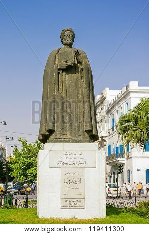 Tunis, Tunisia - August 29, 2007. Monument To Famous Medieval Historian Ibn Khaldoun.