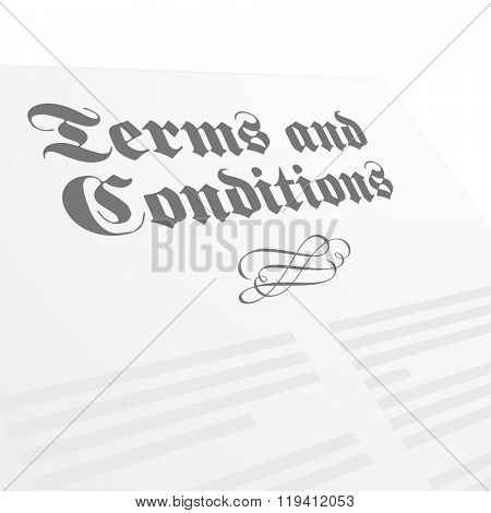 detailed illustration of a Terms and Conditions letter, eps10 vector