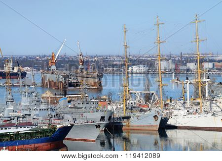 Naval Ships Moored In Military Harbor Of Odessa - Largest Ukrainian Sea Port On Black Sea,europe