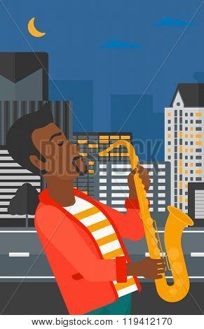 Musician playing saxophone.