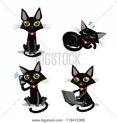 Black Cat. Sitting Cat. Sleeping Cat. Cat And Phone. Cat And Smartphone. Cat And Computer. Vector Cat. Vector Illustration. Black Cat Plush.