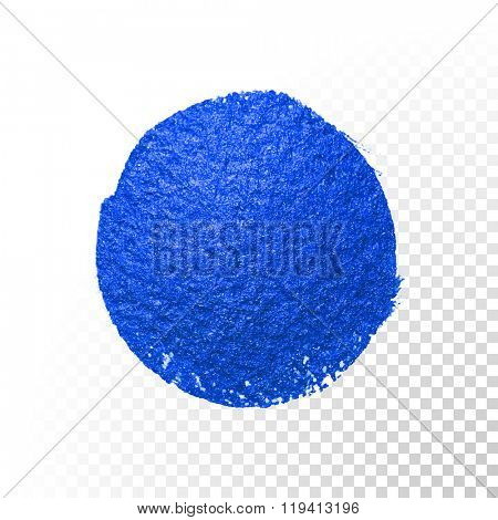 Deep blue watercolor brush blob circle smear stroke. Abstract circle shape. Vector oil paint blot smear on white background