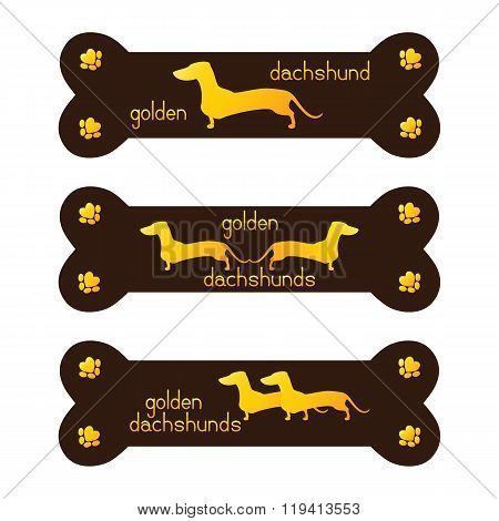 Set Of Golden Dachshund Kennel Logo Template