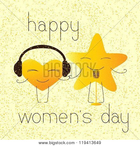 Happy Womens Day Greeting Card With Musical Characters