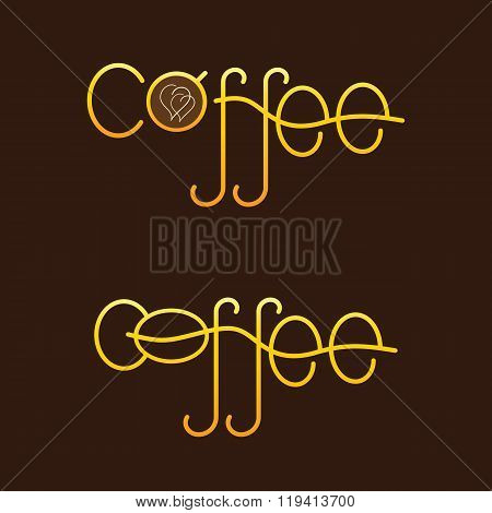 Set Of Golden Colored Lettering Coffee