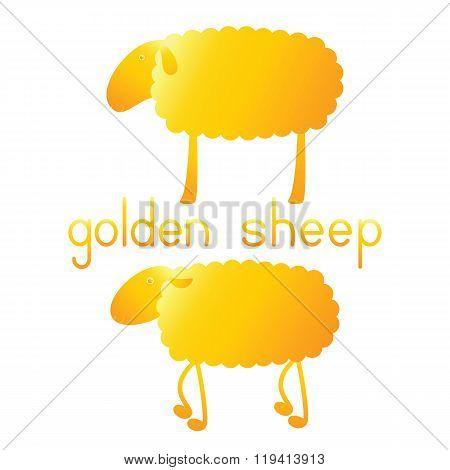 Set Of Golden Sheep