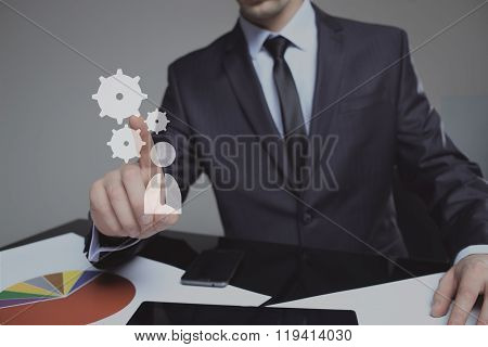 Businessman Activate Gears, Touch Screen Concept