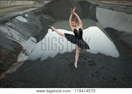 Ballerina on gravel