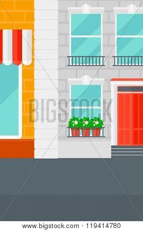 Background of cafe facade.