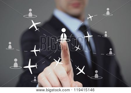 businessman clicks on the icon employee travel.
