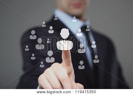 Businessman select Choice employee  human resource system.