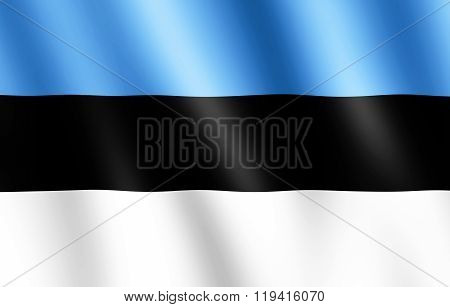 Flag Of Estonia Waving In The Wind